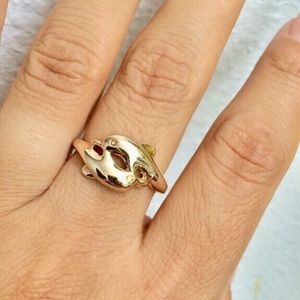 Gold plated dolphin ring